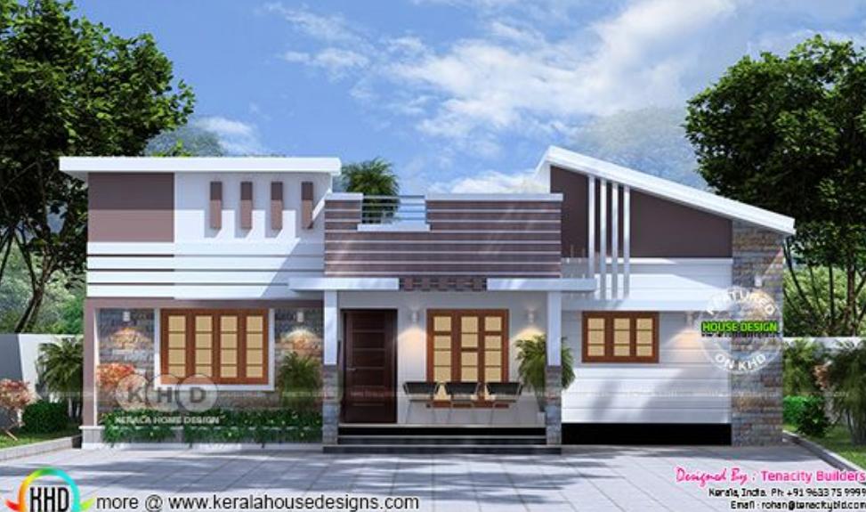 Front Elevation Of House With Flat Roof : บ้านชั้นเดียวดีไซน์โมเดิร์นโทนสีสบายตา กว้างกำลังดี แบบ